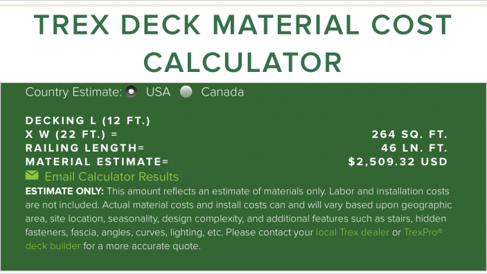 The Trex Deck Cost Calculator helps guide consumers in the early stages of planning a deck build.